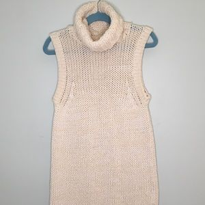 Ivory Turtleneck Sleeveless Sweater